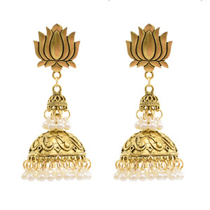 Vintage Gold Color Lotus-shaped Zamak Bells Beads Tassel Statement Stud Earring for Women Indian Party Jewelry