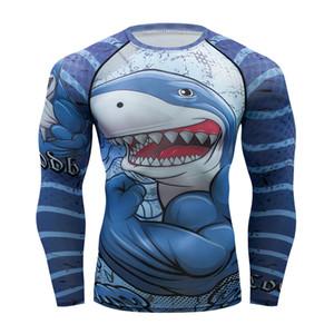 Marque nouveau requin hommes de Compression Serré T Shirt UFC MMA BJJ Manches Longues 3D Imprime Rash guard Fitness Sport Chemise Hommes Rash guard Y200409