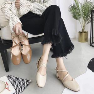 Sıcak Sale-2019 Sandalet Baotou Xia Baida Düz Alt Bir Toka Mary Jane Chic Büyükanne Ayakkabı Kadın