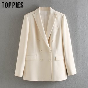 Cheap Blazers Toppies 2020 white blazer for women summer blazer double breasted jackets ladies formal suit jackets