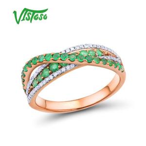 VISTOSO Gold Rings For Women Genuine 14K 585 Rose Gold Ring Magic Emerald Sparkling Diamond Glamorous Anniversary Fine Jewelry T200701