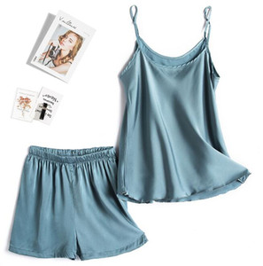 Femmes d'été en soie Pyjama Pyjama Set Gilet sexy Camisole Shorts Vêtements femmes Vêtements de nuit Deux Piece Set Loungewear