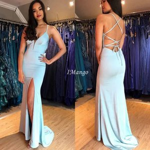 Sexy Mermaid Evening Dresses With Side Split Deep V-Neck Corset Back Simple Arbic Sky Blue Prom Party Gowns Sweep Train Abiye
