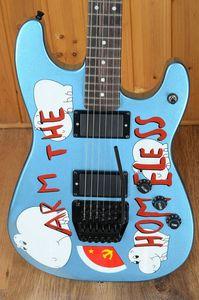 Rare sur mesure Tom Morello Arm The Electric Homeless Bleu Métal Guitare Noir Pont Tremolo cordier Nut Locking, matériel noir C