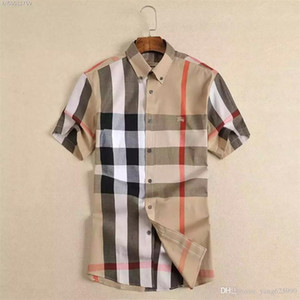 2020 Amerikan iş marka kendini yetiştirme ekose gömlek, moda tasarımcısı marka uzun kollu pamuklu rahat gömlek çizgili eş elbise gömlek S4