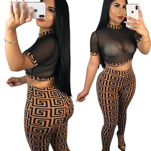 Mesh Tracksuit Women Sexy Two Piece Set Women Short Sleeve Top And Full Length Pants Two Piece Set Fashipn Printed Party Outfits S-XXL