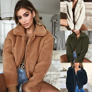Winter Women Turndown Collar Blend Wool Jacket Manica lunga Cerniera Spessa Cappotto in pile Faux Fur Jumper Mujer Invierno