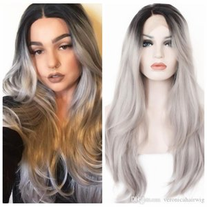 Ombre Gray 2 Tones Synthetic Lace Front Wig Dark Roots Long Natural Straight Silver Grey Replacement Hair Wigs For Women Heat Resistant Hair