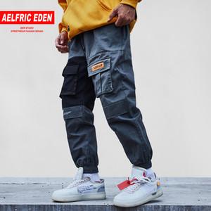Aelfric Eden 2018 tasche pantaloni cargo uomini colore patchwork casual jogger moda pantaloni tattici marea harajuku streetwear kj334