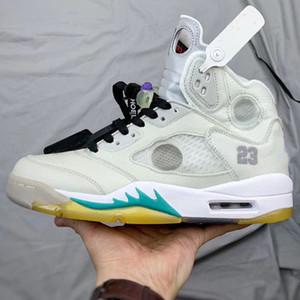 avec la meilleure qualité Box 5 OW grisâtres jaune Hommes Chaussures de basket-ball blanc vert pour sport Chaussures de sport de 3M réfléchissant CT8480-105 Taille US7-