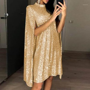 Loose Sexy Ladies Dresses Fashion Polyester Designer Asymmetrical Female Dress Summer Sequins Women Dresses Stand Collar