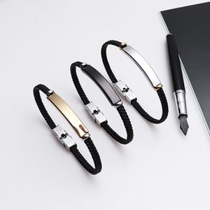 New Fashion Punk Black Braid Rope Men Bracelet Bangles for Women Jewelry Buckle 3 Colors Stainless Steel Charm Bracelet Gift
