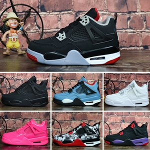 Nike Air Jordan 4 Çocuklar Basketbol Ayakkabı J4 4 s Beyaz Çimento Getirdi Yangın Kırmızı spor Sneakers Jack Üniversitesi Mavi Trail Waers gençlik ço ...