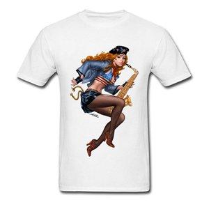 Cool Saxophone Playing Redhead Pinup Tops Shirt New Fashion Crew Neck Funny Short Sleeve 100% Cotton Student T Shirt Tee Shirts