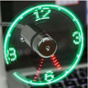 Fan Mão Mini USB aparelhos portáteis flexível Gooseneck LED Clock Cool For laptop PC Notebook verdadeira Time Display carro ajustável durável