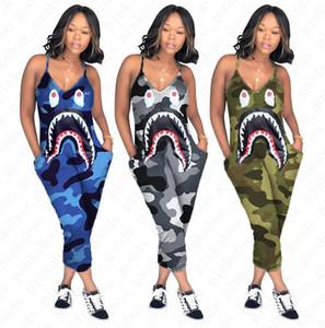 Женщины Комбинезон Rompers Camo Цвет Подтяжки Комбинезон Shark Cartoon Printed Длинные брюки Sexy V-образным вырезом Ромпер One Piece Брюки D52705