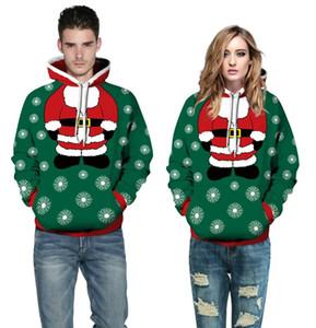 3D Санта-Клаус рождественские толстовки Мужчины Женщины печатные толстовки с капюшоном топы пара карманных свободных пуловеров Рождественский подарок уличная одежда