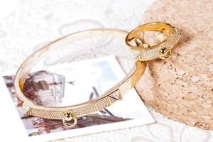 Европа Америка Классический Бренд Ювелирных Наборов Lady Brass Settings Алмазный Двойной Заклепки H Буква 18 К Золотые Обручальные Браслеты Кольцо 3 Цвета