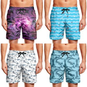 Men's swimming trunks Great White Shark Tours (2) exercise beach board shorts summer Sea water wave shark fin blue vac teeth theme small