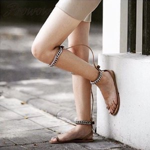Prowow New Summer Metal Chain Knee HIgh Sandals Open Tooe Beach Party Flats Sandals Shoes Women