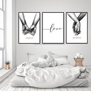 3pcs nórdica cartel caliente Blanco y Negro Manos Que Sostienen Lona amante cita de arte cuadros de la pared de la sala de estar del Minimalist Inicio