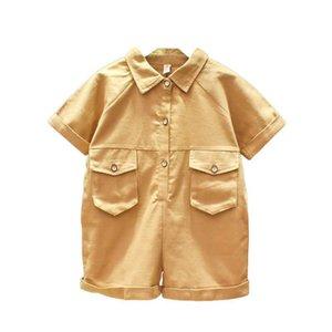 Summer children's jumpsuit 2020 summer new trendy children's clothing boys and girls letter jumpsuit short-sleeved