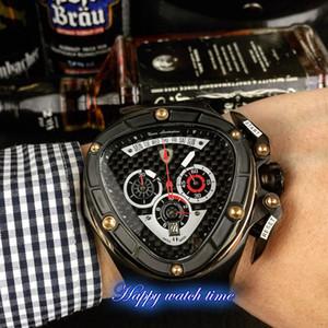 Высокая версия гоночная мода специальная серия черный циферблат черный стальной корпус Япония VK Кварцевый хронограф мужские часы черный кожаный ремешок часы