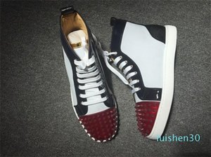 Christian Louboutin CL Collection Red Bottom Sneakers Orlato Spikes Orlato de luxe de cuir verni High Cut Spikes sneakers colorés Spikes Hommes Femmes L30
