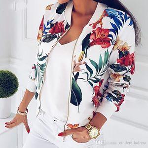 2020 nuevas mujeres estampado floral primavera chaqueta de otoño cremallera manga larga básica chaquetas de ciclista corto patrón femenino mas tamaño S-5xl