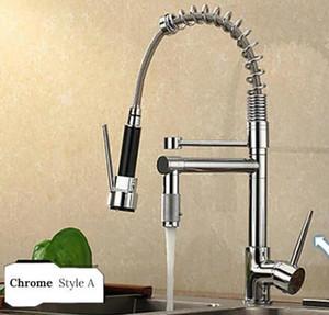 Chrome Latão Bacia torneira da cozinha Vessel Sink Mixer Tap Primavera dupla giratórias Bicos Sink Mixer Torneiras do banheiro Hot Fria