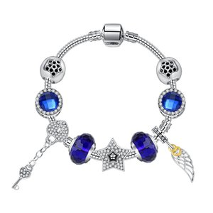 Hot Sale 18-20cm Charm Cubic Zircon Angel Wings Beads Bracelet 925 Silver P Bracelets for Women As A Gift Diy Jewellery