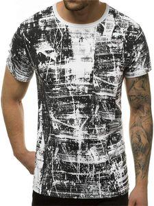Геометрическая Printed лето Mens Tshirts с коротким рукавом Экипаж шеи Дизайнер Homme Tops Casual дышащий Мужской тройники