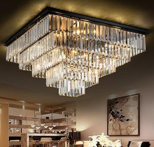 Simple LED Square Lights Quadratische Kristalllampe Deckenleuchten Modern Minimalistisches Schlafzimmer Restaurant Atmosphärischer Kronleuchter LLFA