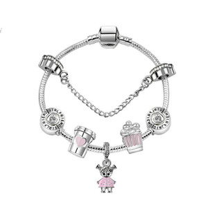 17-21 см шарм бусины браслеты сладкие милые девочки подвеска 925 серебряный браслет DIY ювелирные изделия в подарок