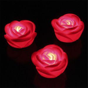 화려한 LED 촛불 로맨틱 플로팅 로즈 로맨틱 7 색 LED 램프 캔들 라이트 로즈 플라워 발렌타인 데이 선물 선물