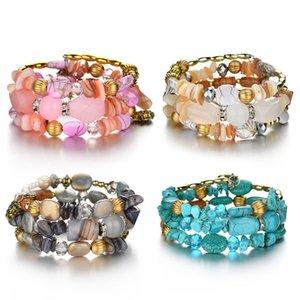 YDYDBZ Boho simulazione gioielli naturali Perline di pietra che avvolge Bracciale epoca pietre Bangle Bracciali per le donne Fashion Jewellery