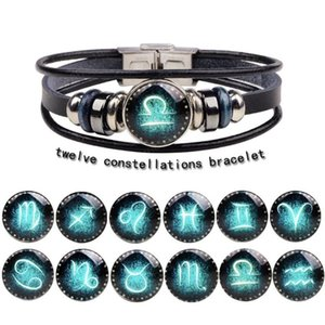 Leather Zodiac Charms Bracelet Jewelry for Men Women DIY 12 Constellations Handmade Rope Cortex Punk Beads Bracelet with Buckle Clasps Black