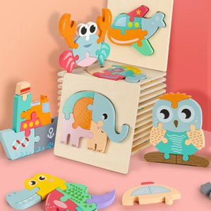 Cartoon Bunte Kinder Holz 3D-Puzzles Spielzeug Tiere Bild Early Education Jigsaw Baby-Intelligence Development Spielzeug