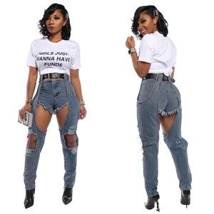 Donna Nuovo arrivo Plus Size jeans strappati irregolare strappato denim del foro Mutandine Pantaloni a vita alta Tuta Pantaloni Torn
