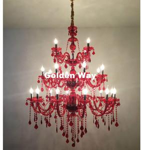 Lambanın Asma Büyük Avize parıltı Işıklar Villa Antik Kırmızı Cam Kristal Avizeler Lamba LED Siyah Avize lampadario Otel Decora