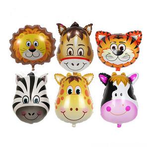 1Pcs Lion Affe Anderes Spielzeug Zebra Kuh Tiger Giraffe Kopf Helium-Folien-Ballone Geburtstags-Party Animal Balloons Thema-Partei Suppies Kind Spielzeug