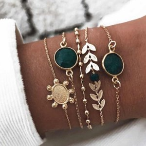 Tocona 5pc set Boho Turtle Green Crystal Bracelet Multilayer Gold Leaves Chains Bracelet for Women Girl Cuff Beach Jewelry 8863