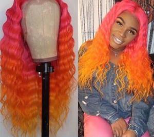 Parrucca di nuovo stile Ombre rosa / arancio colori parrucca anteriore del merletto con il bambino dei capelli di Glueless parte anteriore del pizzo dei capelli umani parrucca piena del merletto per le donne nere