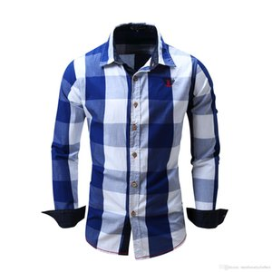 Mens Plaid Casual Shirts Business Male Luxury Shirt Long Sleeved Single Breasted Tops