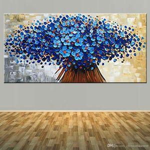 Virginia. Alta calidad pintada a mano abstracta moderna Cuchillo paleta de arte pintura al óleo sobre lienzo Blue Flower Wall Art Deco Hppme l01