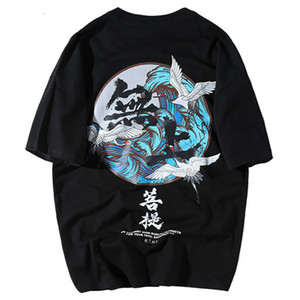 T-shirt SIFAn Buddha guindaste impressão camisetas Mens Hip Hop caráter chinês Casual cobre T 2018 Verão Harajuku Streetwear Camiseta Preto