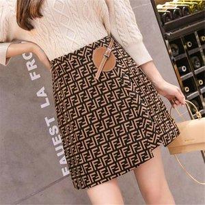 2020 outono inverno novo logotipo carta impressão de alta cintura uma linha de saia curta espessamento lã plus size S M L XL XXL
