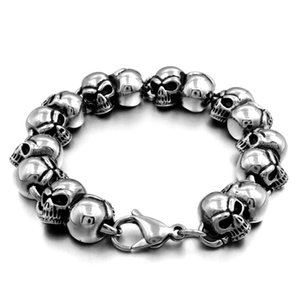 2020 New Popular Skull Mens Couple Bracelet Thick Titanium Stainless Steel Bracelet Casting Bracelet Accessories US Size