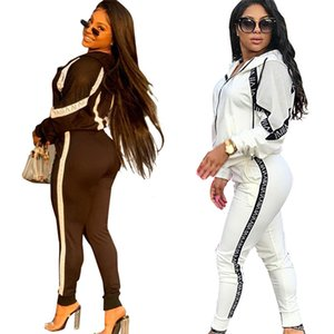 European and American women's hot models, casual and versatile slim, thin letter ribbon sports suit, hooded jacket
