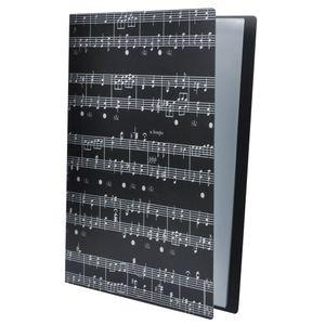Папка для хранения музыкальных файлов Папка для документов Держатель для пластиковых листов формата А4, 40 карманов (черный музыкальный лист)